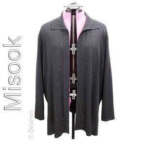 Exclusively Misook Black Open Cardigan XL 1X